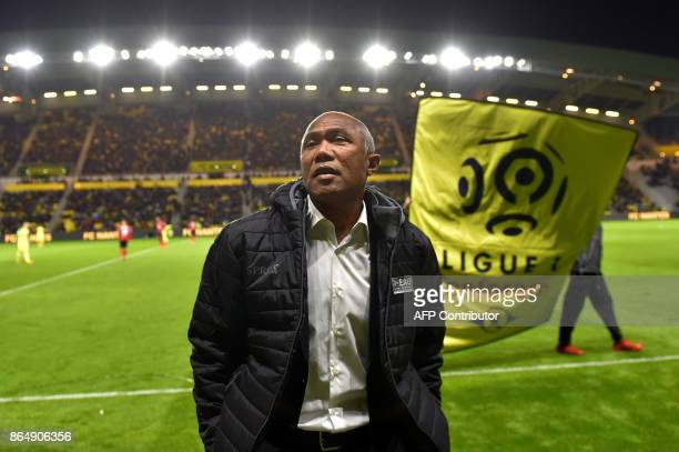 Guingamp's French coach Antoine Kombouare attends the French L1 football match Nantes vs Guingamps at the La Beaujoire stadium in Nantes western...