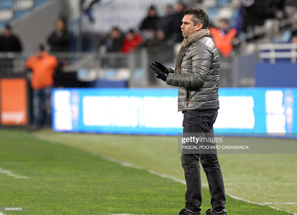 Guingamp's French coach Jocelyn Gourvennec gestures during the French L1 football match Bastia (SCB) against Guingamp (AEG) in the Armand Cesari stadium in Bastia, in the French Mediterranean Island of Corsica, on February 1 , 2014.