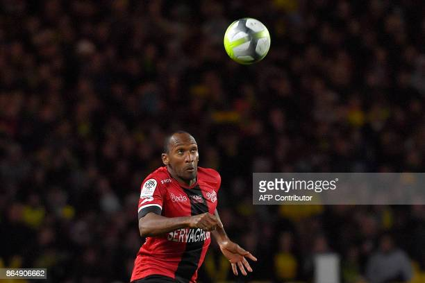 Guingamp's French defender Jeremy Sorbon eyes the ball during the French L1 football match Nantes vs Guingamps at the La Beaujoire stadium in Nantes...