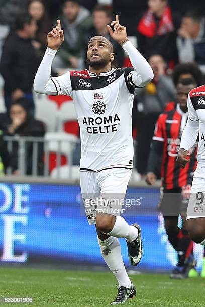 Guingamp's French forward Jimmy Briand celebrates after scoring a goal during the French L1 football match Nice vs Guingamp on January 29 2017 at the...