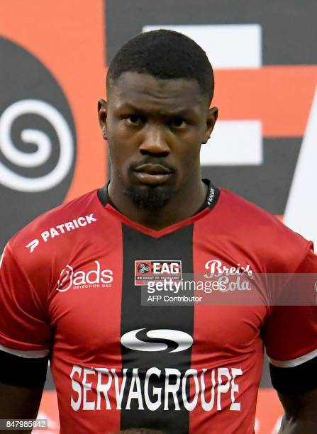 Guingamp's French forward Marcus Thuram attends the match during the French L1 football match Guingamp against Lille on September 16 2017 at the...