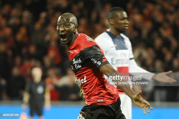 Guingamp's French forward Mustapha Yatabare celebrates after scoring during the French L1 football match between Guingamp and Paris SaintGermain on...