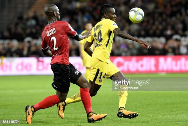 Guingamp's French forward Yannis Salibur vies with Paris SaintGermain's French midfielder Blaise Matuidi during the French L1 football match Paris...