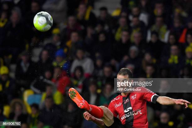 Guingamp's French midfielder Christophe Kerbrat kicks the ball during the French L1 football match Nantes vs Guingamps at the La Beaujoire stadium in...