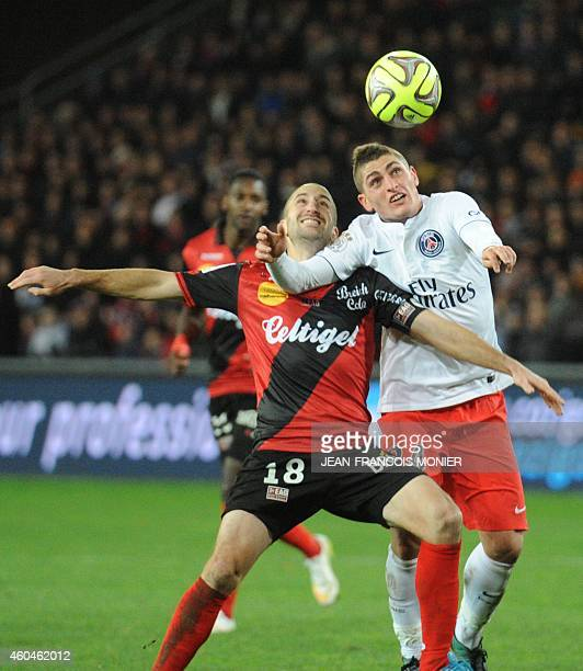 Guingamp's French midfielder Lionel Mathis vies for the ball withParis SaintGermain's Italian midfielder Marco Verratti during the French L1 football...
