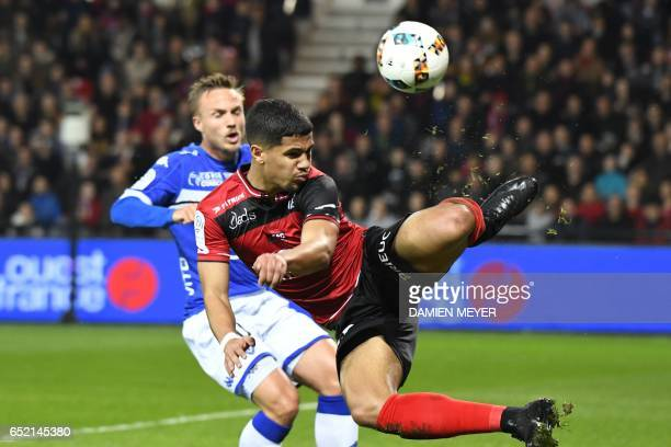 Guingamp's French midfielder Ludovic Blas kicks the ball during the French L1 football match Guingamp against Bastia on March 11 2017 at the...