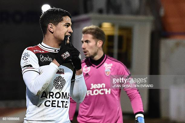 Guingamp's French midfielder Ludovic Blas reacts during the French L1 football match between Lorient and Guingamp on January 14 2017 at the Moustoir...