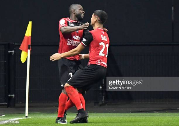 Guingamp's French midfielder Yannis Salibur celebrates after scoring during the French L1 football match Guingamp against Bastia on March 11 2017 at...