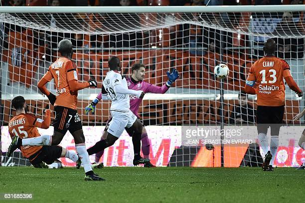 Guingamp's French midfielder Yannis Salibur scores a goal during the French L1 football match between Lorient and Guingamp on January 14 2017 at the...
