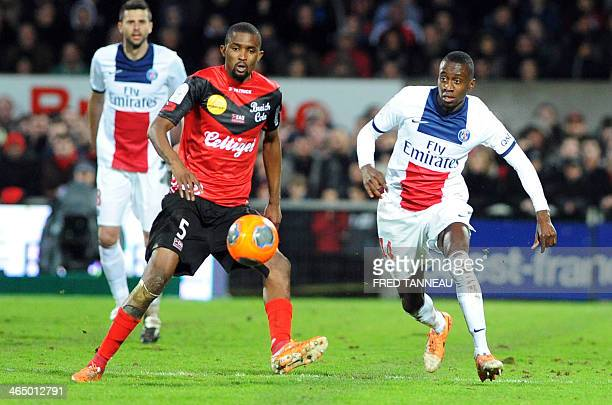 Guingamp's Senegalese midfileder Moustapha Diallo vies for the ball with Paris SaintGermain's French midfielder Blaise Matuidi during the French L1...