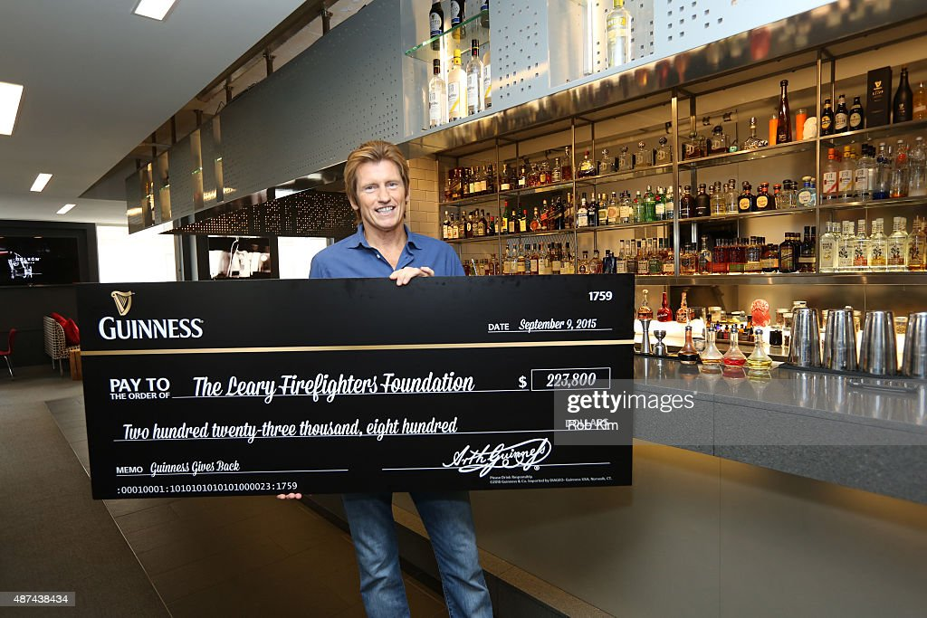 Guinness presents The Leary Firefighters Foundation and LFF founder Denis Leary with a donation in continued support of firefighters nationwide on...