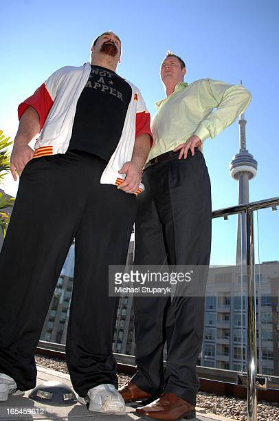 Guinness world Records Book 2008 launchin town with England's tallest man Neil Fingleton 7 ' and 71/2 ' on rt with a Canadian Jerry Sokoloski who is...