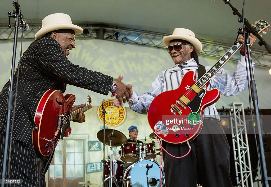 Guitar Lightning Lee performs With Little Freddie King during the 2012 Voodoo Experience at City Park on October 26, 2012 in New Orleans, Louisiana.