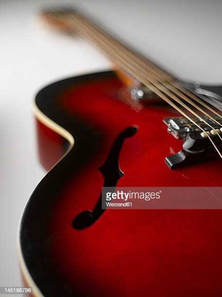 Guitar on white background, close up