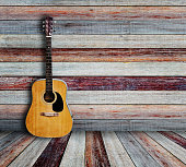 Guitar in vintage wood room.
