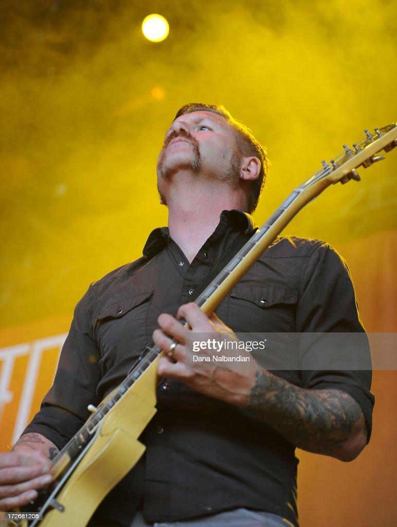 Guitar player Bill Kelliher of Mastodon performs at White River Amphitheater on July 3, 2013 in Auburn, Washington.