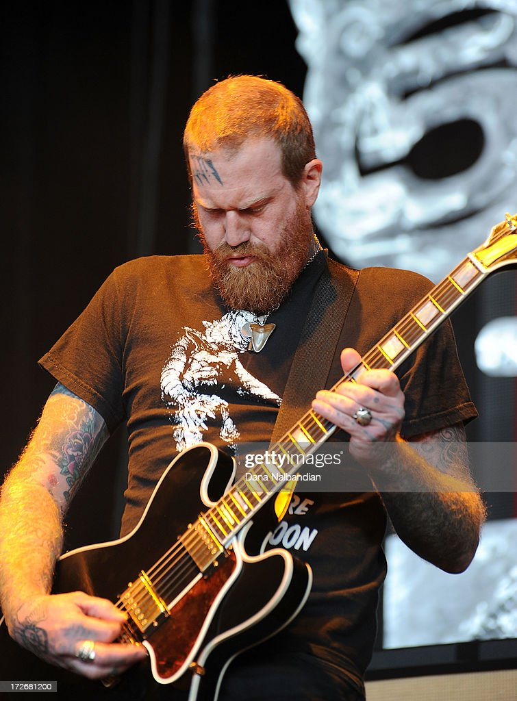 Guitar player Brent Hinds of Mastodon performs at White River Amphitheater on July 3, 2013 in Auburn, Washington.
