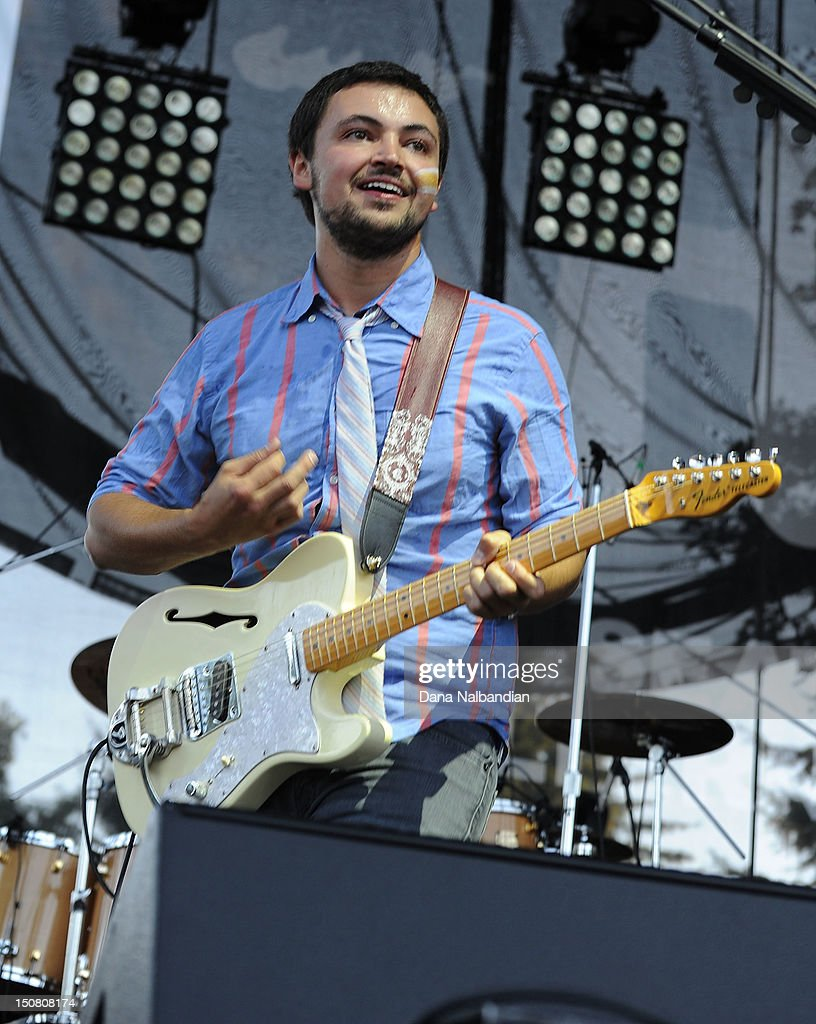Guitar player Eli Maiman of Walk The Moon performs at The End Summer Camp at Marymoor Amphitheater on August 25, 2012 in Redmond, Washington.