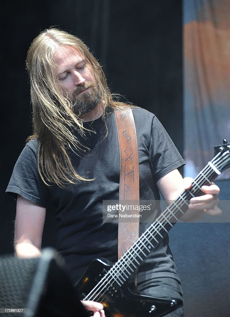 Guitar player Johan Soderberg of Amon Amarth performs at White River Amphitheater on July 3, 2013 in Auburn, Washington.