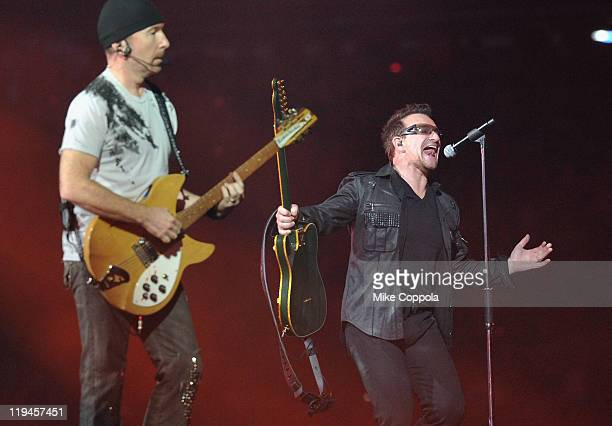 U2 guitar player The Edge and lead singer Bono perform at the New Meadowlands Stadium on July 20 2011 in East Rutherford New Jersey