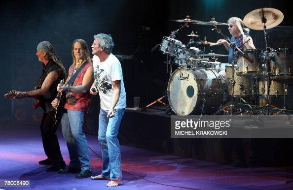 Guitar players Roger Glover and Steve Morse and singer Ian Gillan of English hard rock band Deep Purple perform 19 November 2007 at the Liege Country...