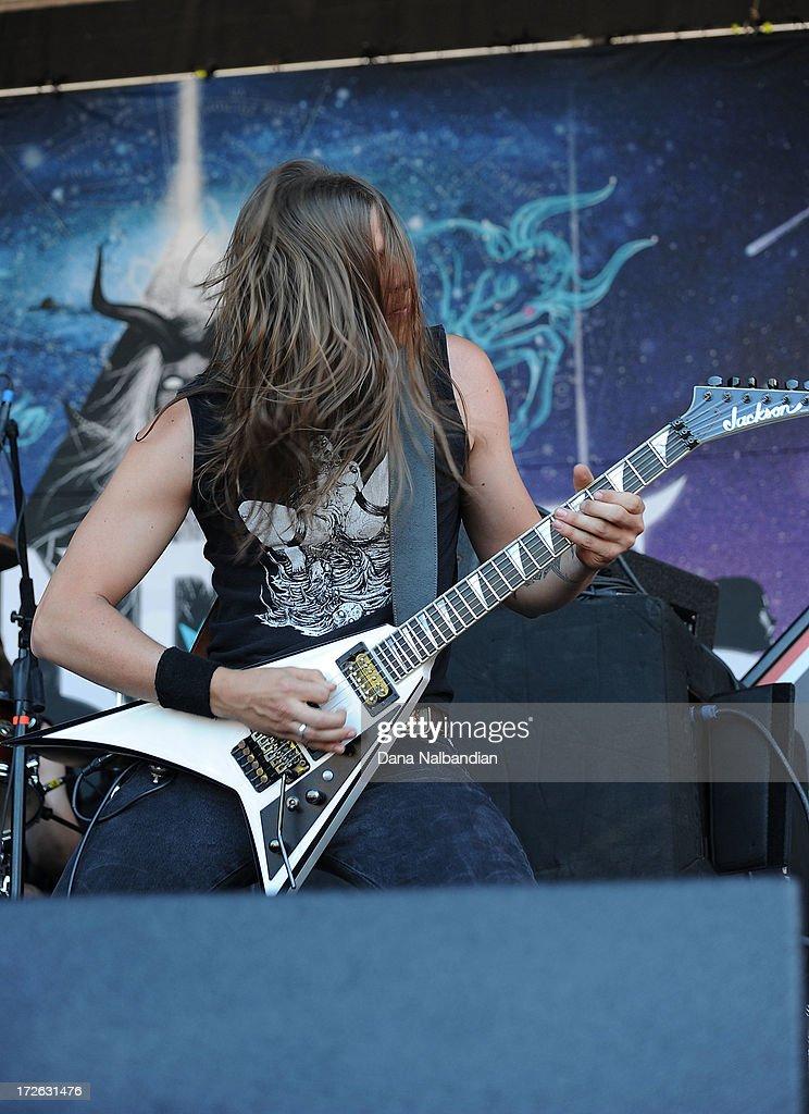 Guitar playr Anthony Crocamo of Huntress performs at Mayhem Festival on July 3, 2013 in Auburn, Washington.