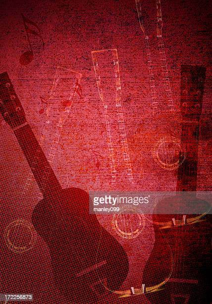 Guitar Red Grunge Background