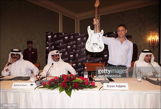 A guitar signed by 2O rock star will be sell a the party in Doha Qatar on November 16 2005