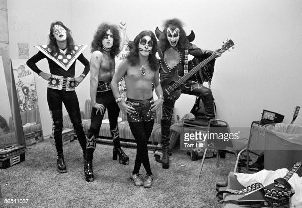 Ace Frehley Paul Stanley Peter Criss and Gene Simmons of Kiss in the dressing room before performing at Alex Cooley's Electric Ballroom