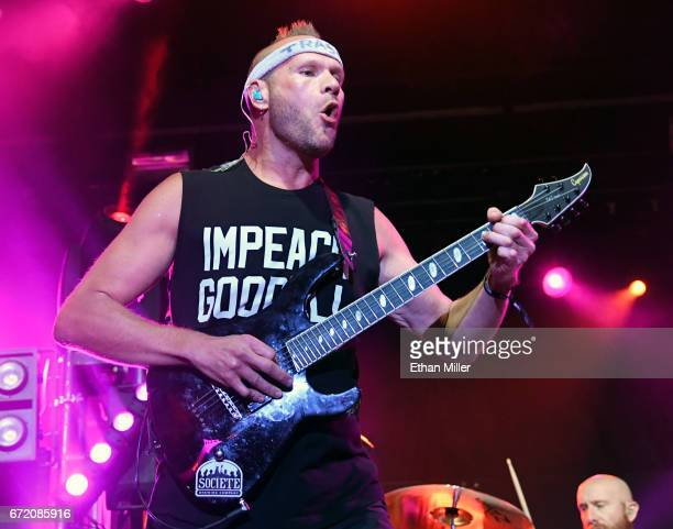Guitarist Adam Dutkiewicz of Killswitch Engage performs during the Las Rageous music festival at the Downtown Las Vegas Events Center on April 21...