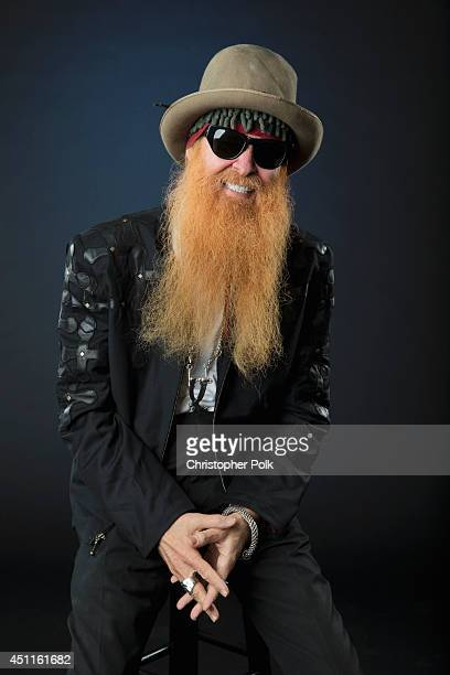 Guitarist and covocalist with the American rock group ZZ Top Billy Gibbons is photographed at the CMT Music Awards Wonderwall portrait studio on June...