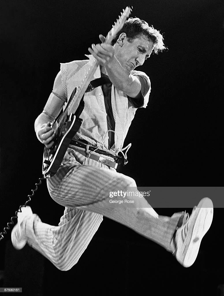 Guitarist and creative genius behind The Who, <a gi-track='captionPersonalityLinkClicked' href=/galleries/search?phrase=Pete+Townshend&family=editorial&specificpeople=203159 ng-click='$event.stopPropagation()'>Pete Townshend</a>, performs his signature leap during one of the legendary rock band's final 1982 concerts held at New York's Shea Stadium.