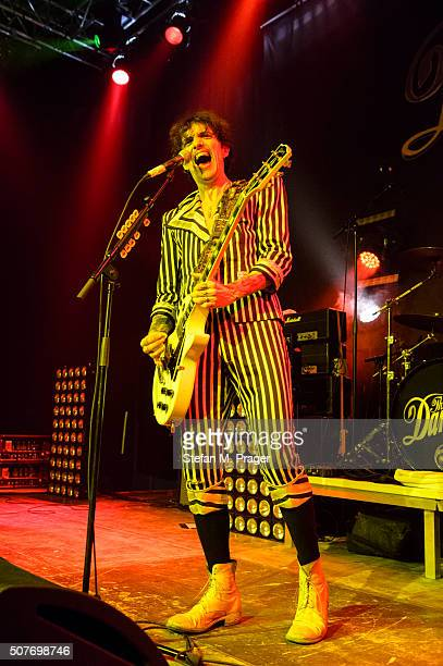 Guitarist and singer Justin Hawkins of the band The Darkness performs at Freiheiz on January 26 2016 in Munich Germany