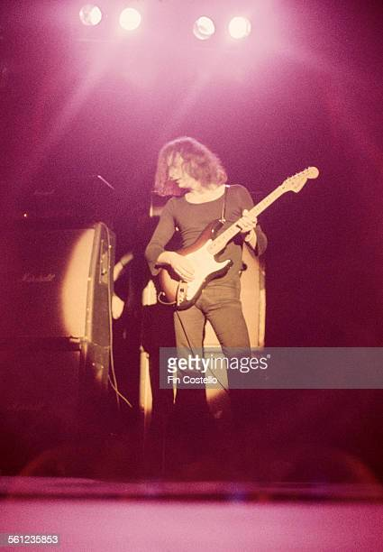 Guitarist and songwriter Ritchie Blackmore performing with British rock group Rainbow circa 1975