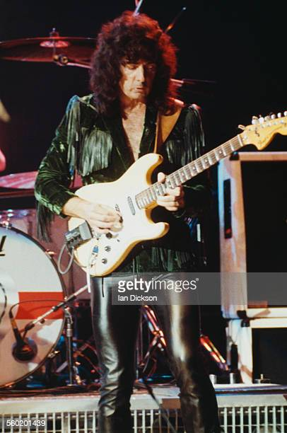 Guitarist and songwriter Ritchie Blackmore performing with English rock group Deep Purple at the Hammersmith Odeon London 14th March 1991