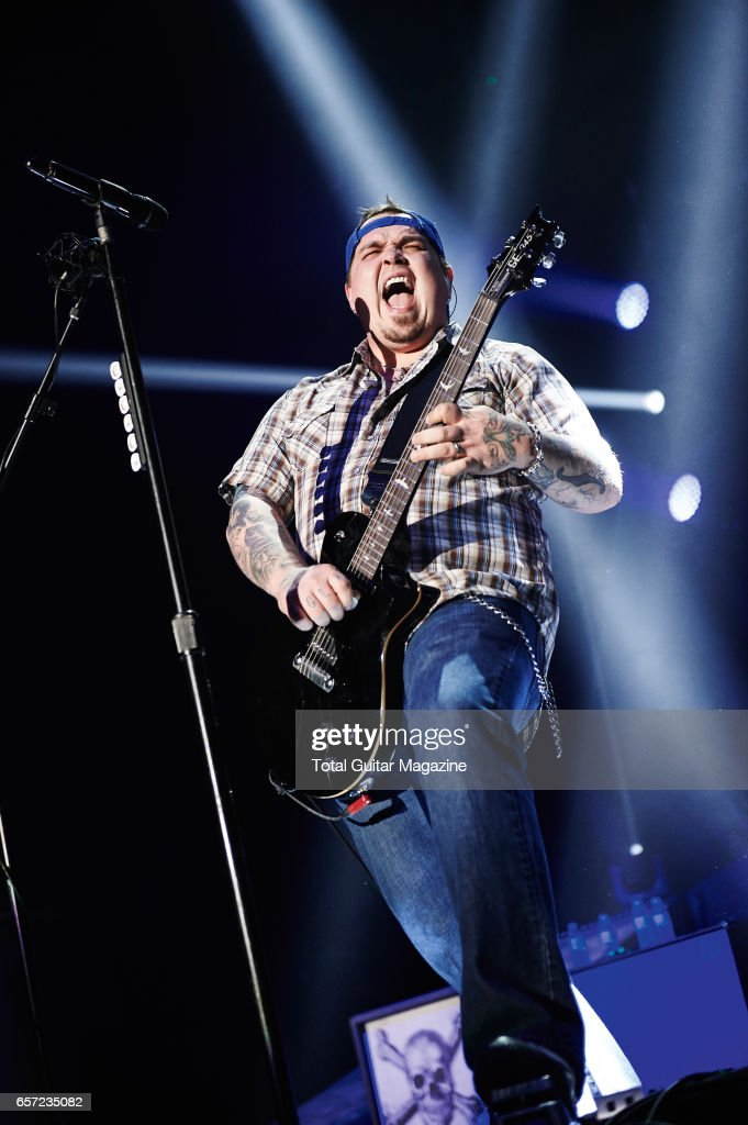 Guitarist and vocalist Chris Robertson of American hard rock group Black Stone Cherry performing live on stage at the Motorpoint Arena in Nottingham, on January 29, 2016.