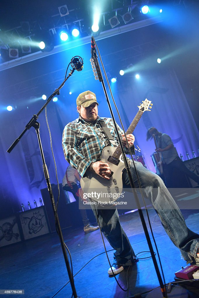 Guitarist and vocalist Chris Robertson of American rock group Black Stone Cherry performing live on stage at KOKO in London, on February 28, 2014.