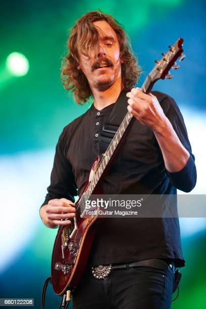 Guitarist and vocalist Mikael Akerfeldt of Swedish progressive metal group Opeth performing live on stage at Be Prog My Friend music festival in...