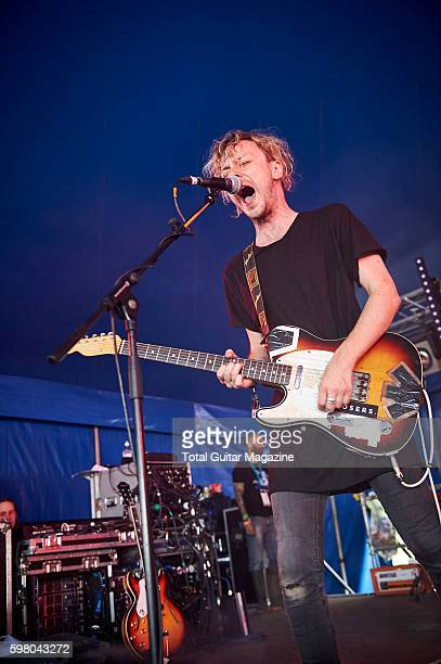 Guitarist and vocalist Paul Mullen of British rock group Young Legionnaire performing live on stage at ArcTanGent Festival in Somerset on August 22...