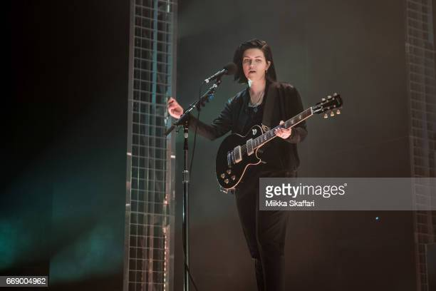 Guitarist and vocalist Romy Madley Croft of The XX performs at Bill Graham Civic Auditorium on April 15 2017 in San Francisco California