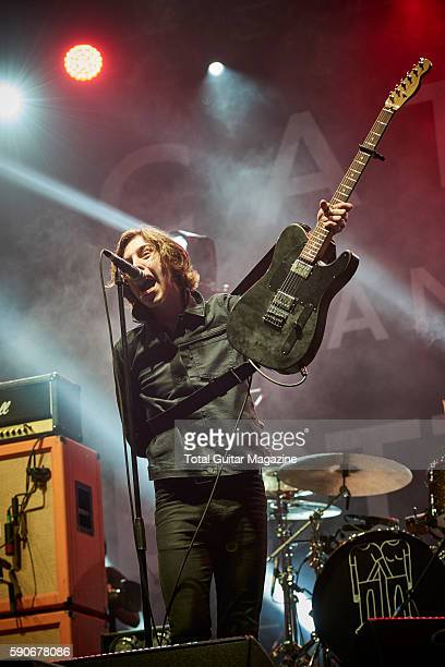 Guitarist and vocalist Ryan McCann of Welsh indie rock group Catfish And The Bottlemen performing live on stage at Reading Festival in Berkshire on...