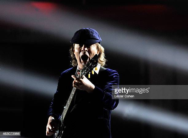 Guitarist Angus Young of AC DC performs onstage during The 57th Annual GRAMMY Awards at the STAPLES Center on February 8 2015 in Los Angeles...