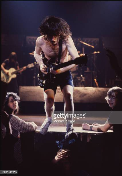 Guitarist Angus Young of Australian rock band AC/DC during the band's 1980 UK tour