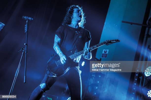 Guitarist Ben Bruce of English metalcore group Asking Alexandria performing live on stage at the O2 Academy Brixton in London on April 8 2017