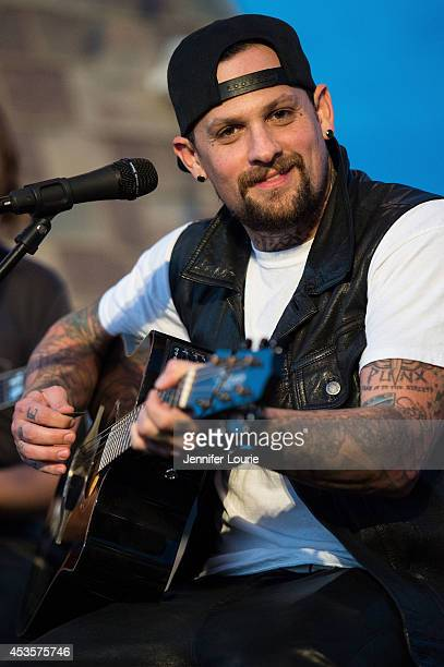 Guitarist Benji Madden performs at the ALT 987FM presents Penthouse Party featuring The Madden Brothers at The Historic Hollywood Tower on July 30...