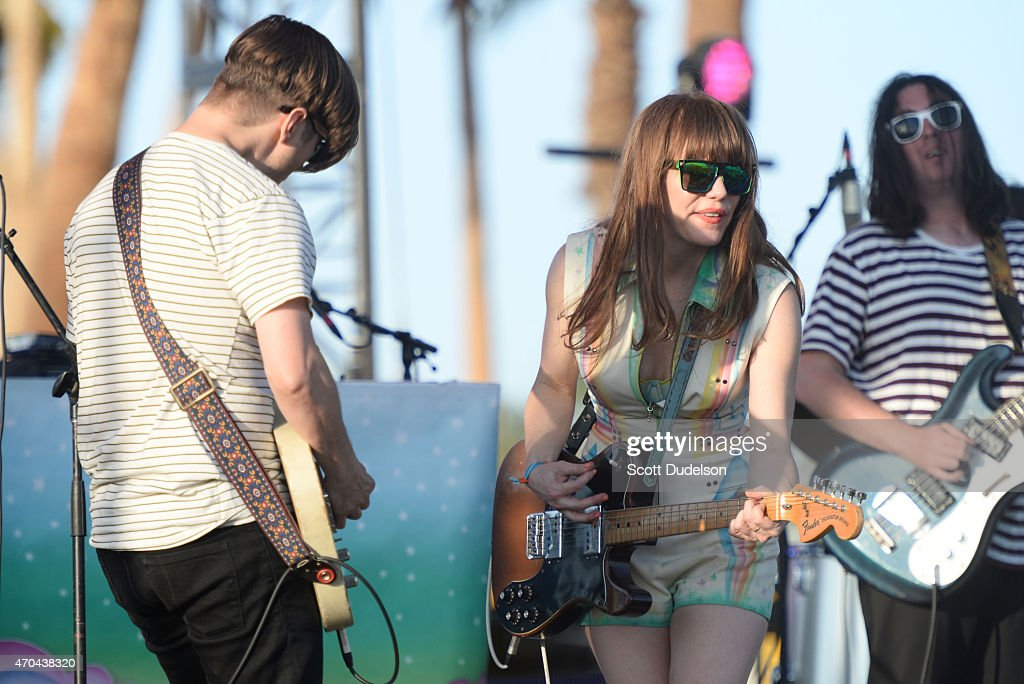 Guitarist Blake Sennett and singer Jenny Lewis of Rilo Kiley reunite for a surprise appearance onstage during day 2 of the Coachella Music Festival...