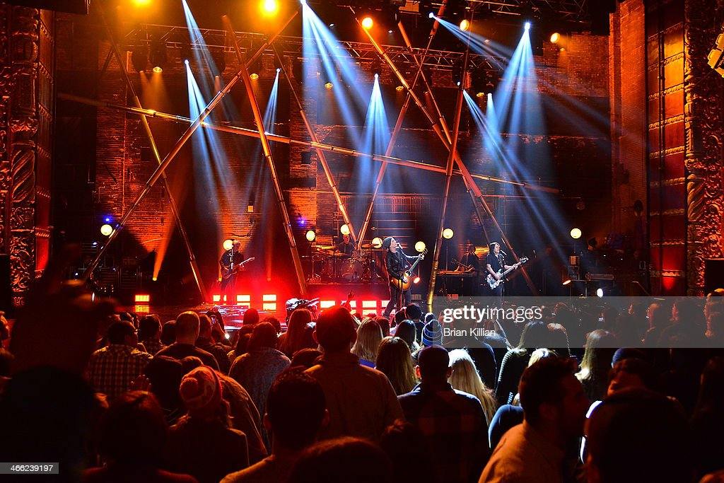 Guitarist Brad Fernquist, drummer Rick Woolsterhulme Jr., singer Johnny Rzeznik, guitarist Korel Tunador, and bassist Robby Takac of The Goo Goo Dolls perform during VH1's 'Super Bowl Blitz: Six Nights + Six Concerts' at St. George Theatre on January 31, 2014 in the Staten Island borough of New York City.