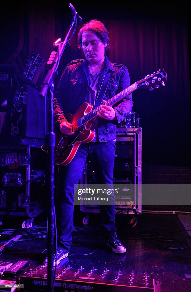 Guitarist Brad Fernquist of the Goo Goo Dolls performs live at Troubadour on April 3, 2013 in West Hollywood, California.