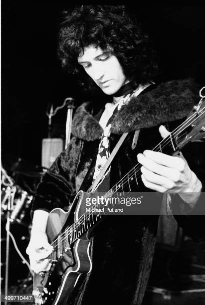 Guitarist Brian May of British rock group Queen during rehearsals for the group's first major tour 8th July 1973