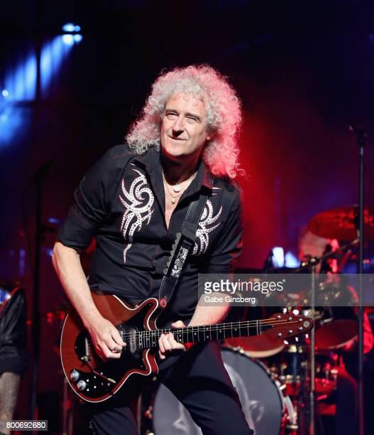 Guitarist Brian May of Queen Adam Lambert performs at TMobile Arena on June 24 2017 in Las Vegas Nevada